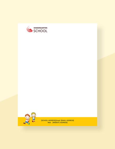 Free Kindergarten Letterhead Template