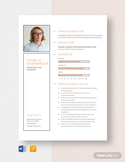 Geriatric Case Manager Resume Template