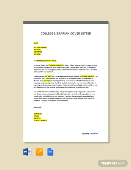 Free College Librarian Cover Letter Template