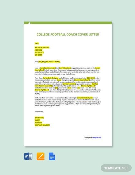 Free College Football Coach Cover Letter Template
