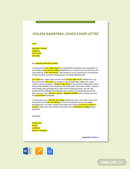 Free College Basketball Coach Cover Letter Template