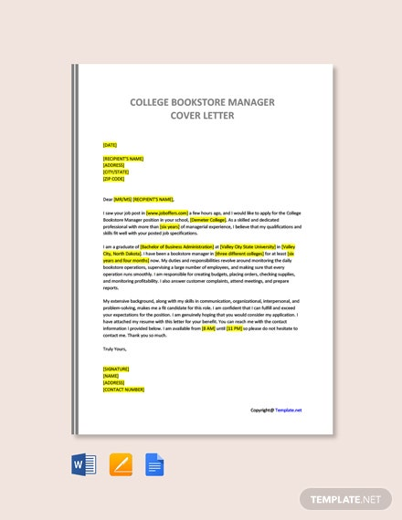 Free College Bookstore Manager Cover Letter Template