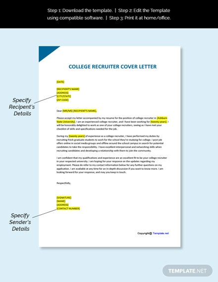 College Recruiter Cover Letter Template