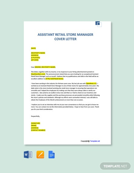 Free Assistant Retail Store Manager Cover Letter Template