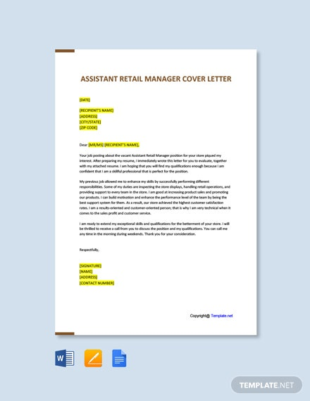 Free Assistant Retail Manager Cover Letter Template