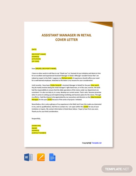 Free Assistant Manager In Retail Cover Letter Template