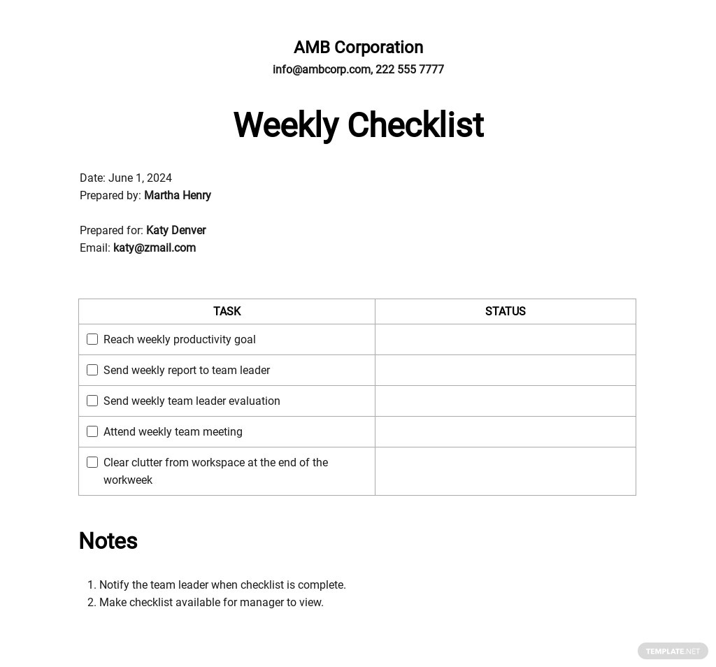 Free Blank Checklist Template
