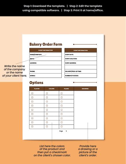 Printable Bakery Business Planner