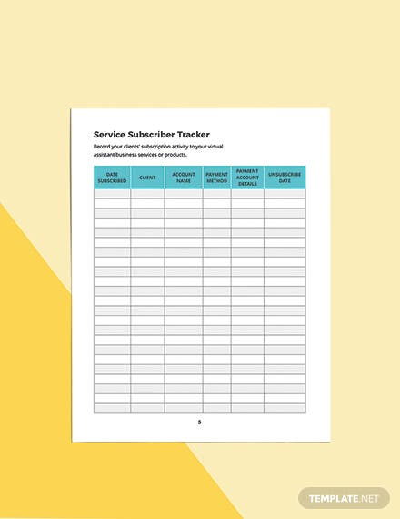 Virtual Assistant Business Planner Template Format