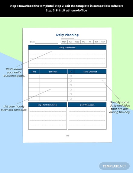 Daily Business Planner Printable