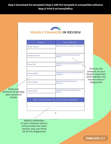 Digital Business Yearly Finances Planner