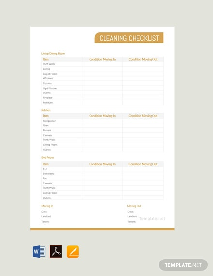 Free Cleaning Checklist Template