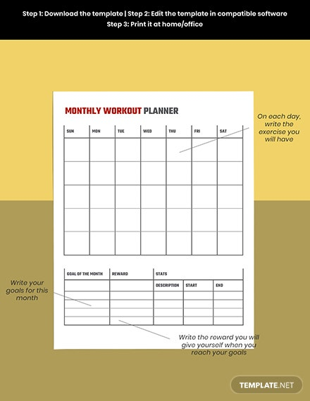 Monthly workout planner template Editable