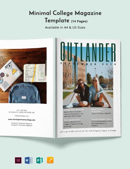 Free Minimal College Magazine Template