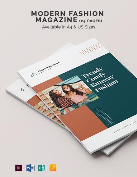 Free Modern Fashion Magazine Template