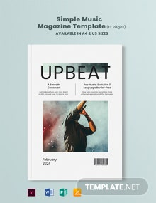 Free Simple Music Magazine Template