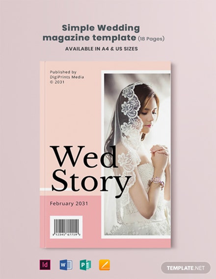 Free Simple Wedding Magazine Template