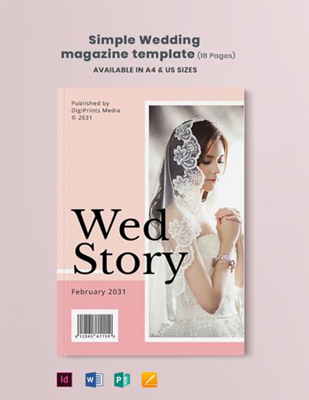 Free Simple Wedding Magazine Template