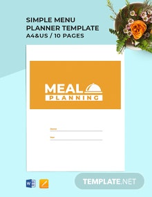 Free Simple Menu Planner Template