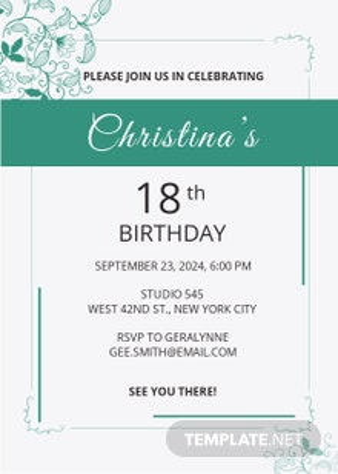 Free Debut Birthday Invitation Template