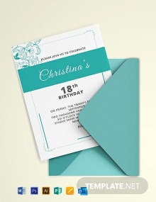 Free Debut Birthday Invitation Template