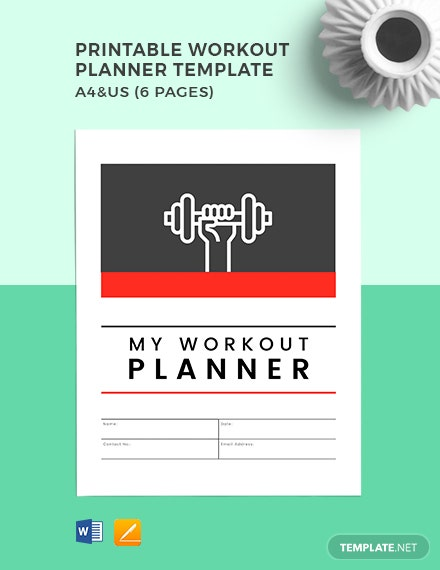 Free Printable Workout Planner Template