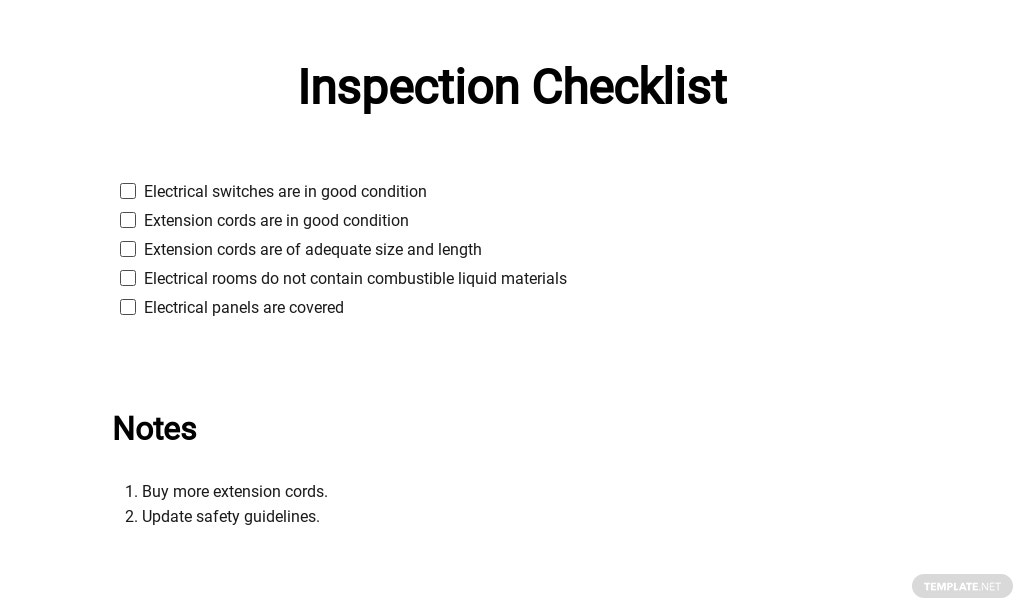 Free Inspection Checklist Template