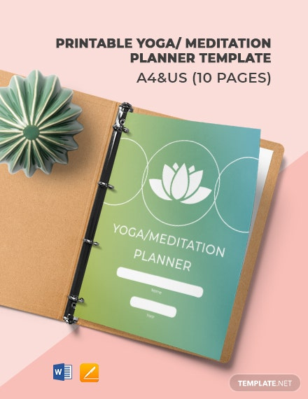 Free Printable Yoga/Meditation Planner Template