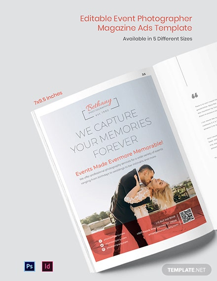 Free Event Photographer Magazine Ads Template