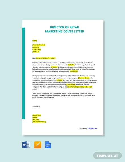 Director of Retail Marketing Cover Letter Template