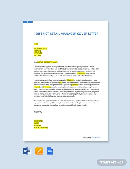 Free District Retail Manager Cover Letter Template