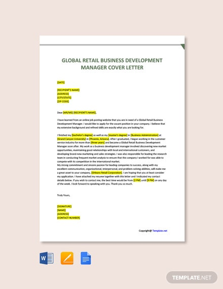 Free Global Retail Business Development Manager Cover Letter Template