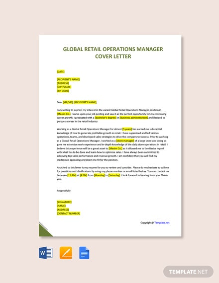 Free Global Retail Operations Manager Cover Letter Template