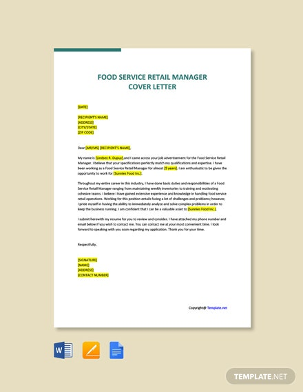 Free Food Service Retail Manager Cover Letter Template