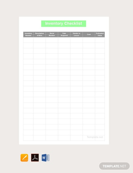 Free Inventory Checklist Template