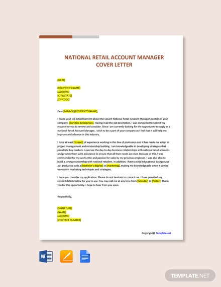 Free National Retail Account Manager Cover Letter Template