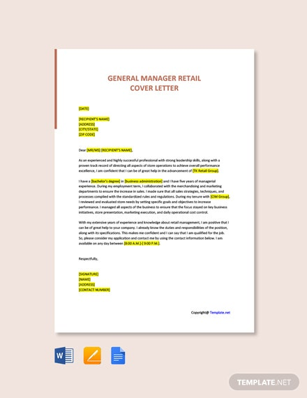 Free General Manager Retail Cover Letter Template