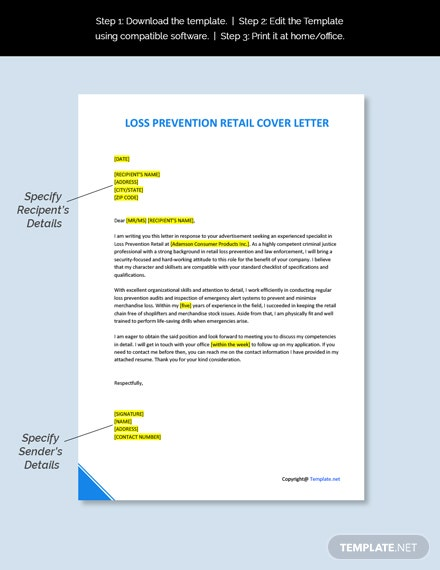 Loss Prevention Retail Cover Letter Template