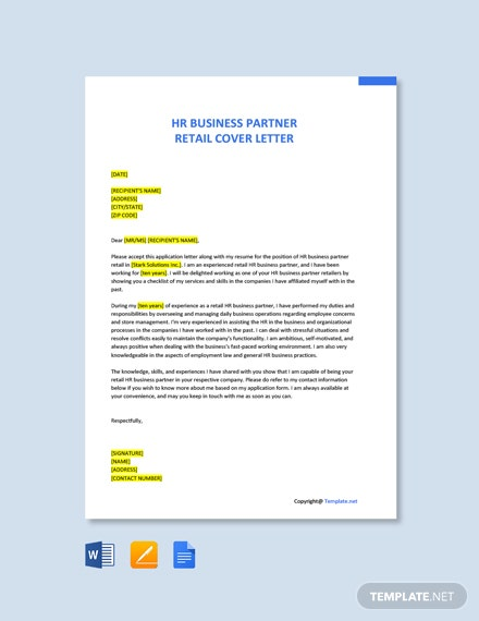 Free HR Business Partner Retail Cover Letter Template