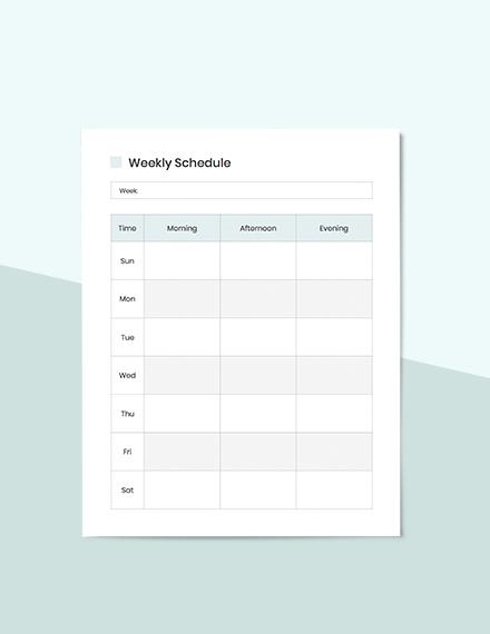 Editable Weekly Schedule planner
