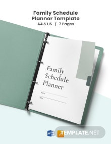 Family Schedule Planner Template