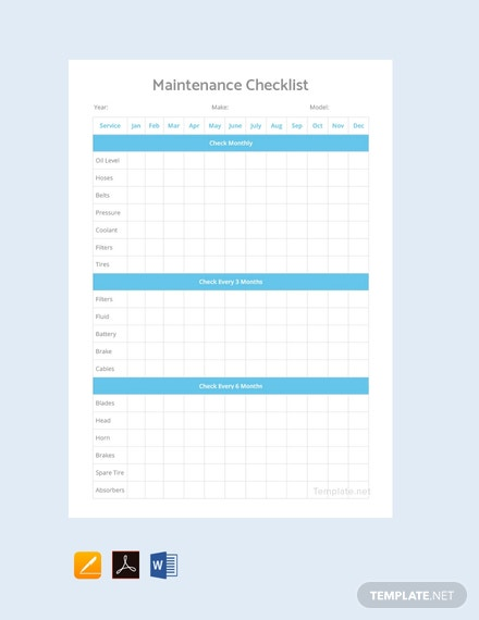 Free Maintenance Checklist Template