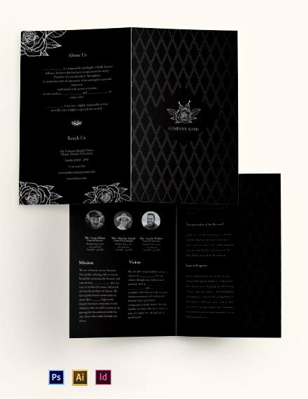 Blank Funeral Service Bi-Fold Brochure Template