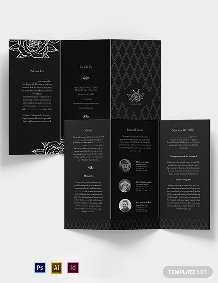 Blank Funeral Service Tri-Fold Brochure Template