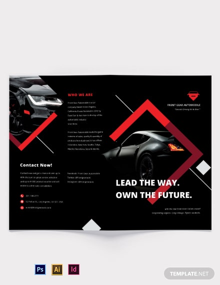 Car Advertisement Bi-Fold Brochure Template