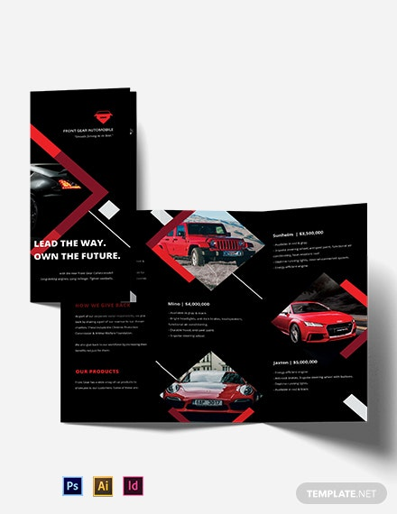 Car Advertisement Tri-Fold Brochure Template