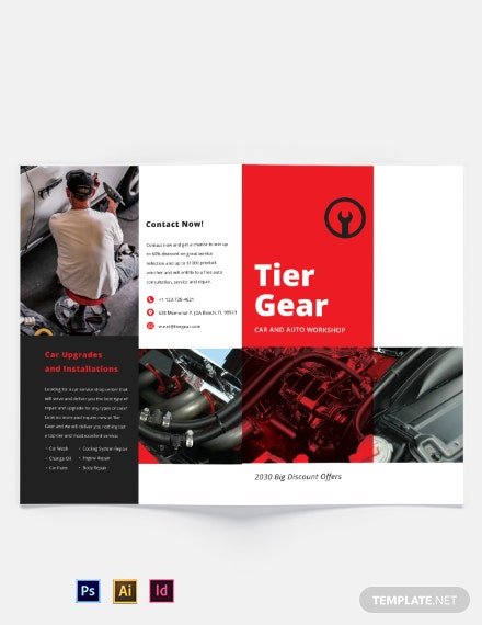 Car and Automotive Workshop Bi-Fold Brochure Template