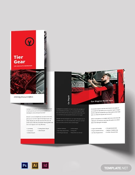 Car and Automotive Workshop Tri-Fold Brochure Template