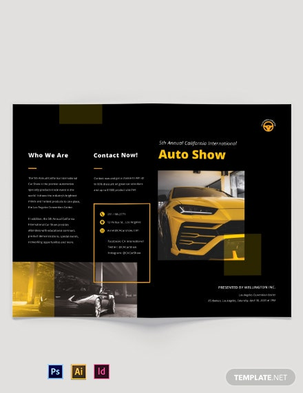 Car Show Bi-Fold Brochure Template