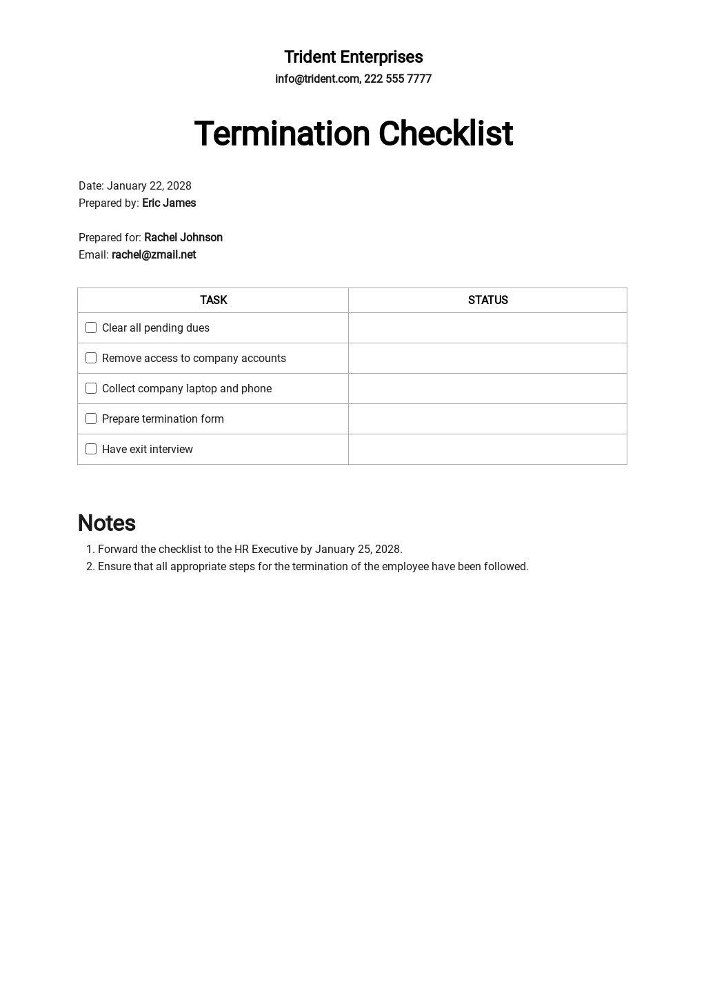 Free Termination Checklist Template